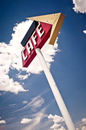 americana: Cafe sign along historic Route 66 in Texas. Stock Photo