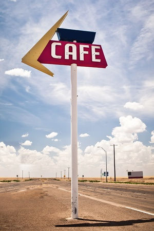 route 66: Cafe sign along historic Route 66 in Texas. Stock Photo