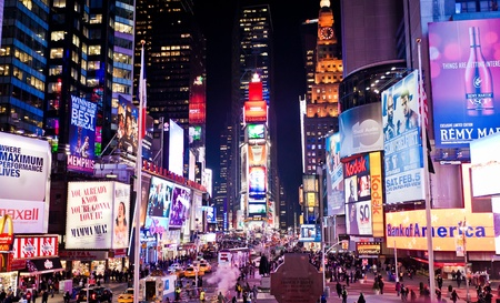 times square: Manhattan, New York City, USA - January 7 2011: Times Square, featured with Broadway Theaters and animated LED signs, is a symbol of New York City and the United States