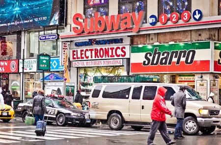 NEW YORK - JAN 7: Streetscene in point of intersection of 7th Av. and 34th st. near Madison Square Gardenl on January 7, 2011 in Manhattan, New York City