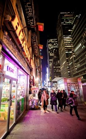 NEW YORK - JAN 7: Night streetscene on 7th Av.on January 7, 2011 in Manhattan, New York City