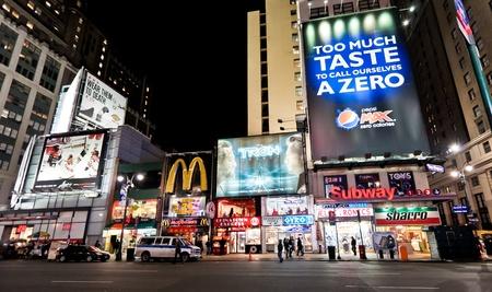 streetscene: NEW YORK - JAN 7: Night streetscene on 7th Av.on January 7, 2011 in Manhattan, New York City