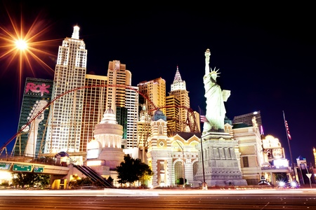LAS VEGAS - JUL 14: New York-New York hotel casino creating the impressive New York City skyline with skyscraper towers and Statue of Liberty on Luly 14, 2011 in Las Vegas, Nevada.