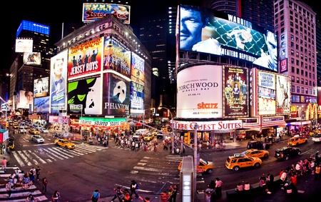 NEW YORK CITY - JULY 1: Panoramic shot of Times Square, featured with Broadway Theaters and animated LED signs, is a symbol of New York City and the United States, July 1, 2011 in Manhattan, New York City.