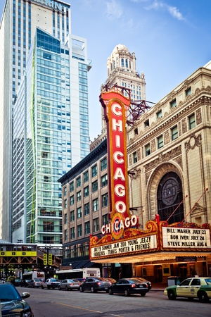 american midwest: CHICAGO - JUL 6: The famous Chicago Theater on State Street on July 6, 2011 in Chicago, Illinois. Opened in 1921, the theater was renovated in the 1980s at a cost of $4.3 million. Editorial