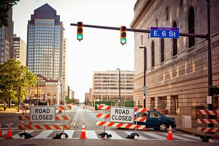road closed: Road closed sign in Downtown Cleverland Stock Photo