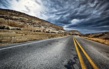 single lane road: Along the road Stock Photo