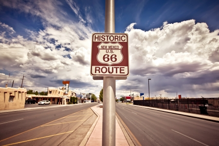 interstate: Historic route 66 route sign