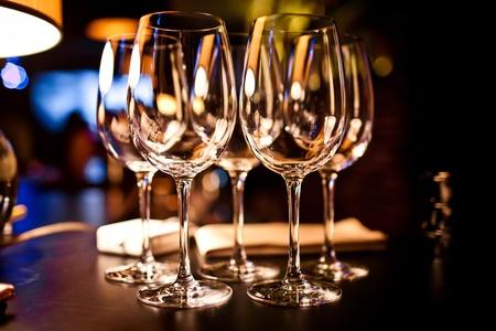 fork glasses: Empty glasses set in restaurant