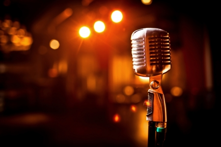 Retro microphone on stage Stock Photo - 12124461