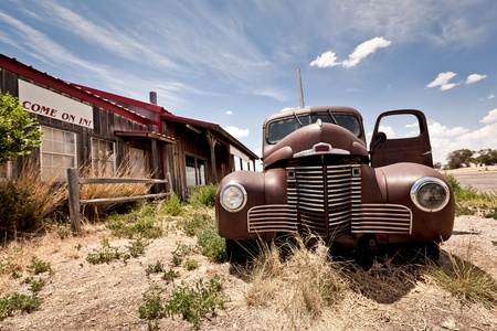 gas pump: Abandoned restaraunt on route 66 road in USA