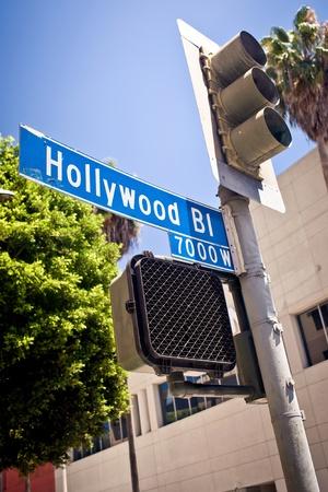 street name sign: Hollywood boulevard sign Stock Photo