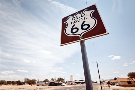 midwest usa: Route 66 sign Stock Photo