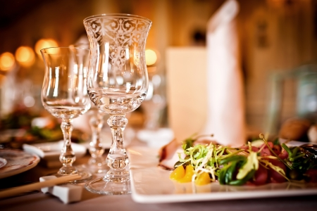 Empty glasses set in restaurant Stock Photo - 13740756