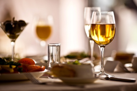 fine silver: Glasses set with drinks in restaurant Stock Photo