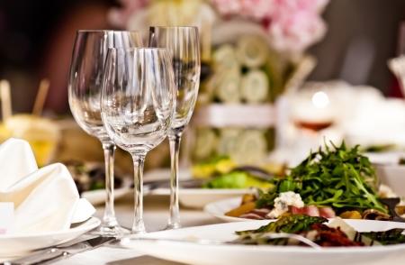 dinner food: Empty glasses set in restaurant