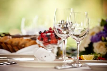 wineglass: Empty glasses set in restaurant