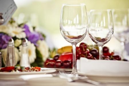 Empty glasses set in restaurant photo