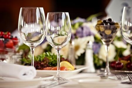 set table: Empty glasses set in restaurant