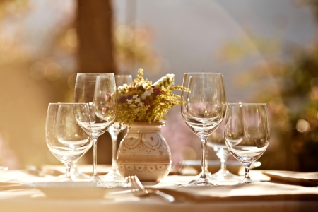 alfresco: Served table at summer cafe Stock Photo
