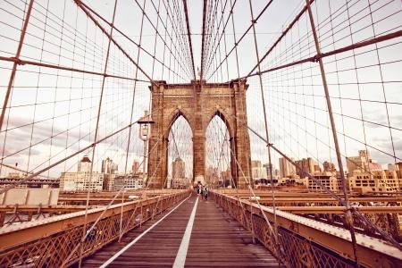 new york buildings: Brooklyn Bridge in New York Stock Photo