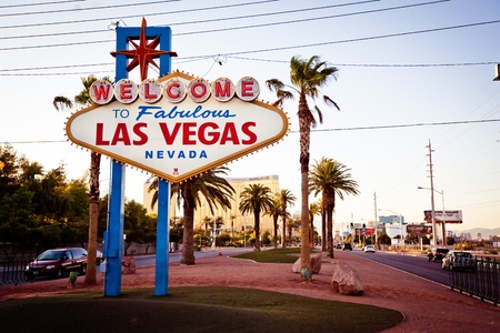 erected: LAS VEGAS - JULY 13: The Welcome to Fabulous Las Vegas sign on Las Vegas Strip on July 13, 2011. Landmark funded in May 1959 and erected soon after by Western Neon. Editorial
