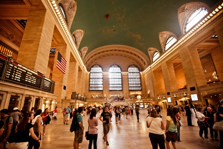 NEW YORK CITY - AUGUST 18: Interior of Grand Central Station on  August 18, 2012 in New York City, NY. The terminal is the largest train station in the world by number of platforms having 44.