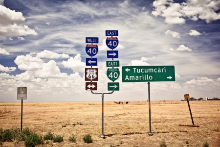 turn sign: Route 66 intersection signs in Adrian, Texas