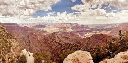 Grand Canyon during sunny day with blue sky photo