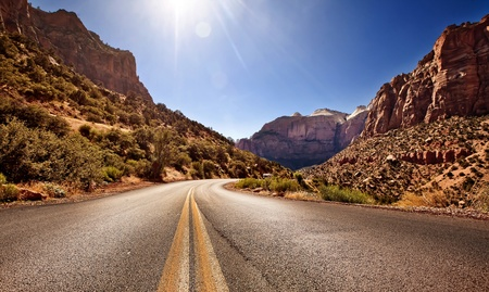 zion: Road in Zion Canyon National Park, Utah Stock Photo