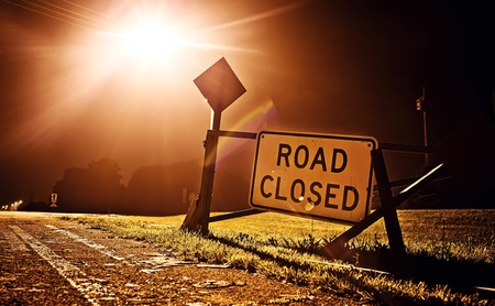 road closed: Road closed sign