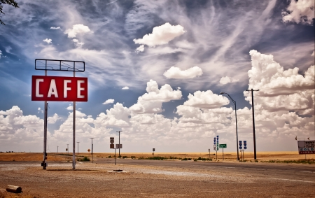roadside: Cafe sign along historic Route 66 in Texas  Stock Photo