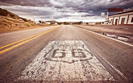 rt: An old Route 66 shield painted on road Stock Photo