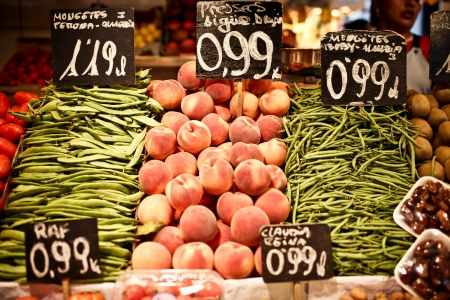 catalonia: La Boqueria market with vegetables and fruits Stock Photo