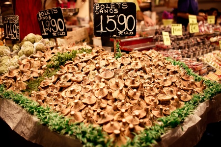 Famous La Boqueria market with mushrooms photo