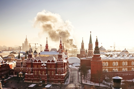 Red Square and Kremlin during winter frosty day photo