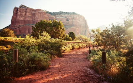 sedona: Red rock mountains in Sedona at morning Stock Photo