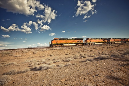 Cargo locomotive railroad in Arizona desert photo