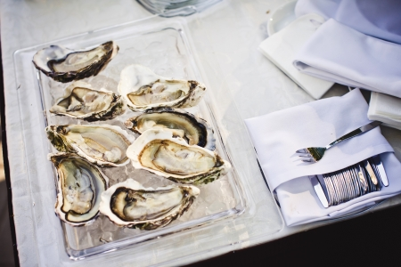 shucked: Fresh oysters on ice at an outdoor cafe