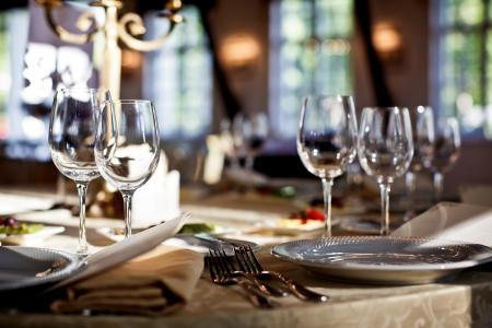 fancy: Empty glasses set in restaurant