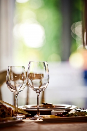 dining set: Empty glasses set in restaurant