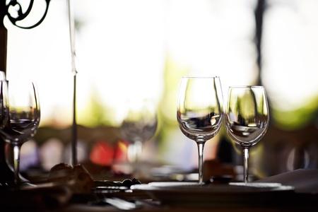 Empty glasses set in restaurant