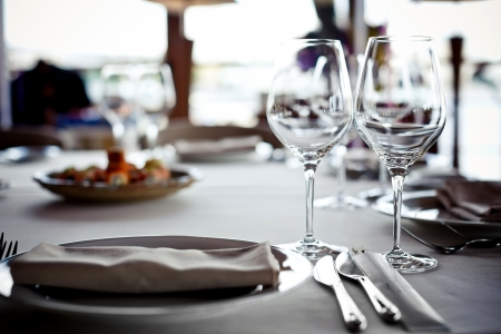 banquet table: Empty glasses set in restaurant