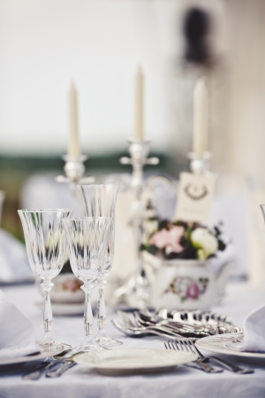 table cloth: Empty glasses set in restaurant