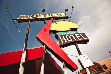 Old motel sign on Route 66, USA photo