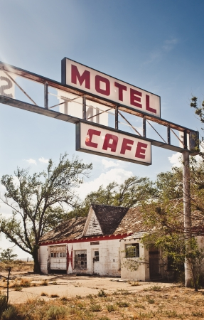 rusty car: Abandoned restaraunt on route 66 in USA Stock Photo