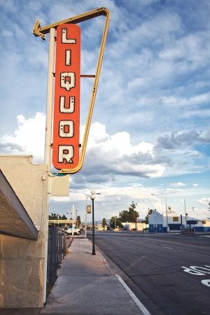 Old liquor store sign founded on Route 66, USA photo
