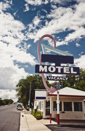 decrepit: Old motel sign on Route 66, USA