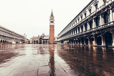 saint marco: Piazza San Marco with Campanile and Doge Palace. Venice, Italy Stock Photo