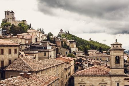 san marino: San Marino. Aerial view Stock Photo